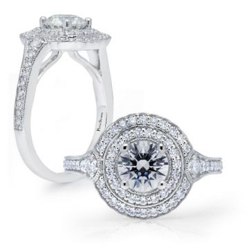 Peter Storm 14k White Gold Double Halo Diamond Engagement Ring
