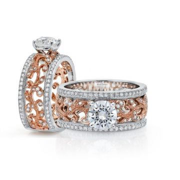 Peter Storm 14k White and Rose Gold Diamond Engagement Ring