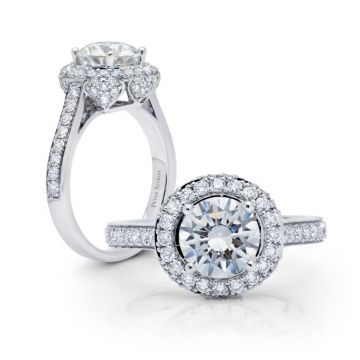 Peter Storm 14k White Gold Halo Diamond Engagement Ring