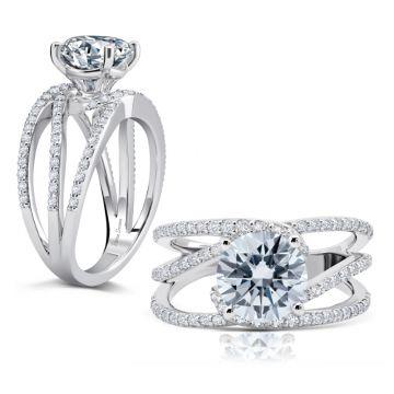 Peter Storm 14k White Gold Split Shank Engagement Ring