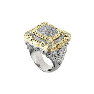 Vahan 14k Yellow Gold & Sterling Silver Pave Diamond Ring