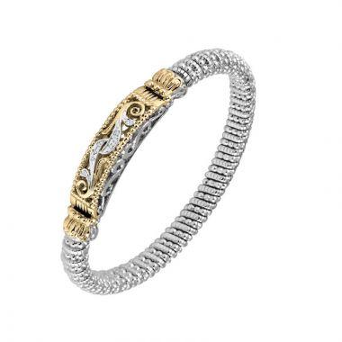 Vahan 14k Yellow Gold & Sterling Silver Scroll Design Bracelet