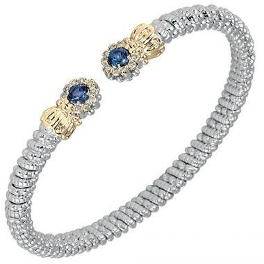 Vahan 4mm 14k Gold & Sterling Silver Diamond And London Blue Topaz Bracelet