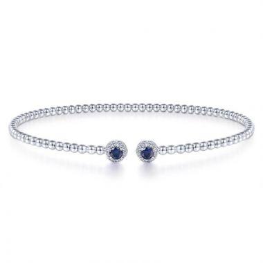 Gabriel & Co. 14k White Gold Bujukan Gemstone & Diamond Bangle Bracelet