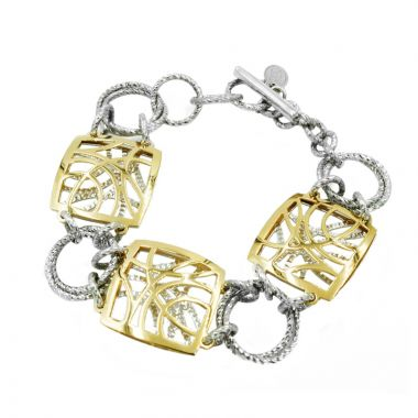 Frederic Duclos  Sterling Silver And Yellow Gold Plated Contempo Bracelet