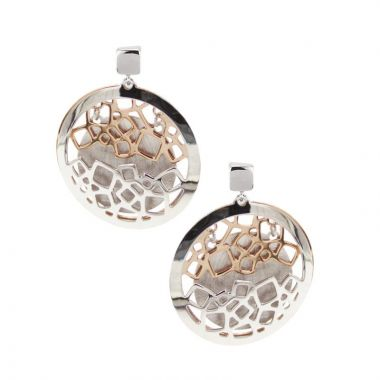 Frederic Duclos  Sterling Silver And Rose Gold Plated Open Square Earrings