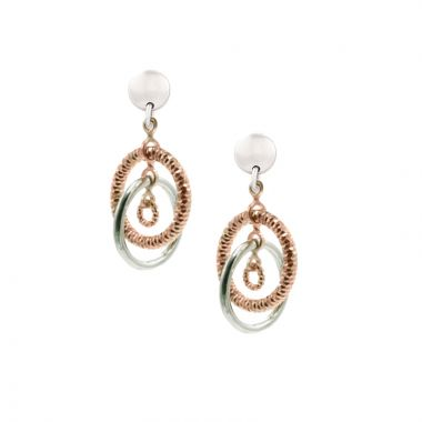 Frederic Duclos Sterling Silver And Rose Gold Plated April Earrings