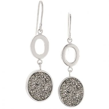 Frederic Duclos  Sterling Silver Lightning Drusy Oval Earrings
