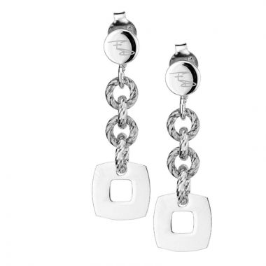 Frederic Duclos  Sterling Silver Glimmer and Square Earrings