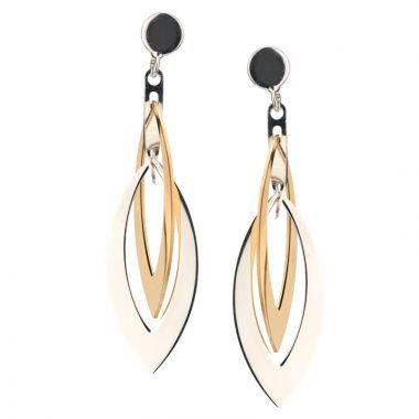 Frederic Duclos  Sterling Silver  And Yellow Gold Plated Layers Marquis Earrings