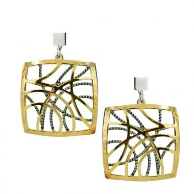 """Frederic Duclos  Sterling Silver And Yellow Gold Plated """"Contempo"""" Earrings"""