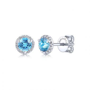 Gabriel & Co. 14k White Gold Lusso Color Gemstone & Diamond Stud Earrings