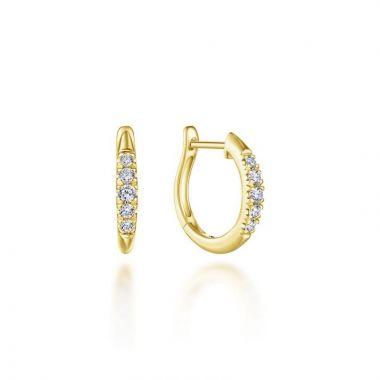 Gabriel & Co. 14k Yellow Gold Lusso Diamond Huggie Earrings