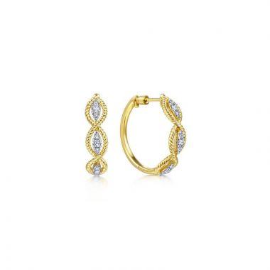 Gabriel & Co. 14k Yellow Gold Hampton Diamond Hoop Earrings