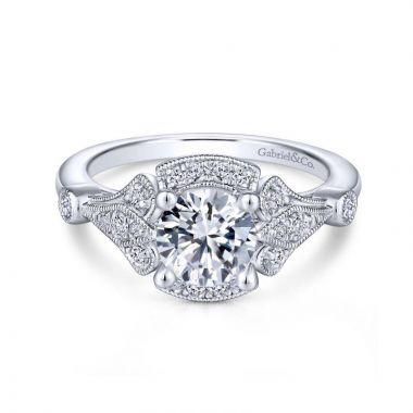Gabriel & Co. 14k White Gold Art Deco Halo Engagement Ring