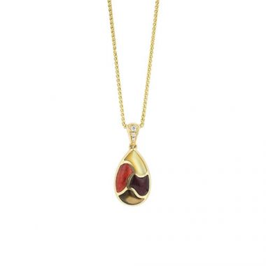 Kabana 14k Yellow Gold Mother of Pearl Inlay Pendant
