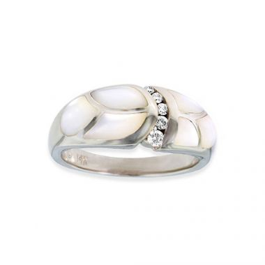 Kabana 14k White Gold Mother of Pearl Inlay Ring