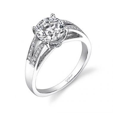 14k White Gold Coast Diamond 0.12ct Diamond Semi-Mount Engagement Ring With Milgrain Details