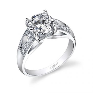 14k White Gold Coast Diamond 0.23ct Diamond Semi-Mount Engagement Ring With Milgrain Details