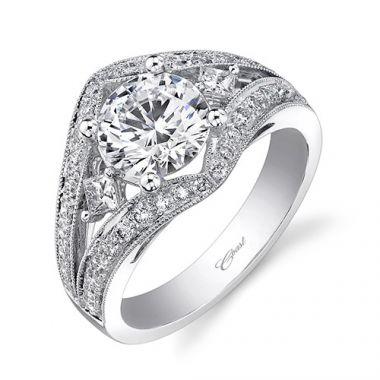 14k White Gold Coast Diamond 0.61ct Diamond Semi-Mount Engagement Ring With Milgrain Details