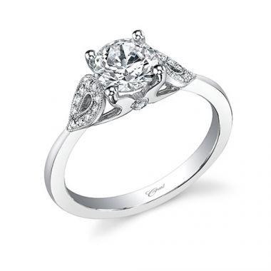 14k White Gold Coast Diamond 0.1ct Diamond Semi-Mount Engagement Ring With Milgrain Details