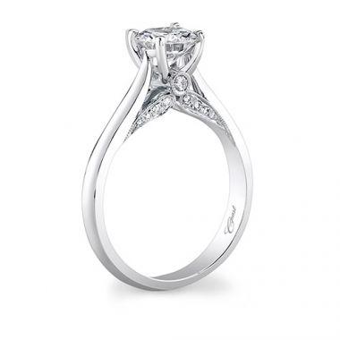 14k White Gold Coast Diamond 0.14ct Diamond Semi-Mount Engagement Ring With Milgrain Details