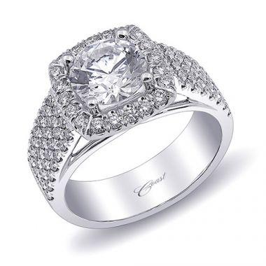 14k White Gold Coast Diamond 0.77ct Diamond Semi-Mount Fishtail Engagement Ring