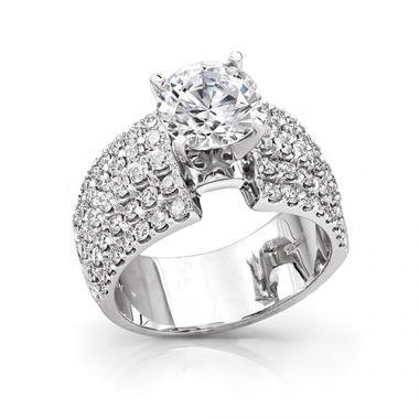 14k White Gold Coast Diamond 1.31ct Diamond Semi-Mount Fishtail Engagement Ring