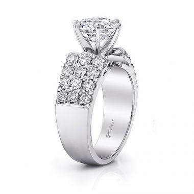 14k White Gold Coast Diamond 1.22ct Diamond Semi-Mount Fishtail Engagement Ring