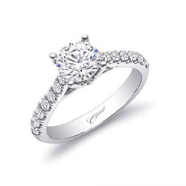 14k White Gold Coast Diamond 0.4ct Diamond Semi-Mount Fishtail Engagement Ring