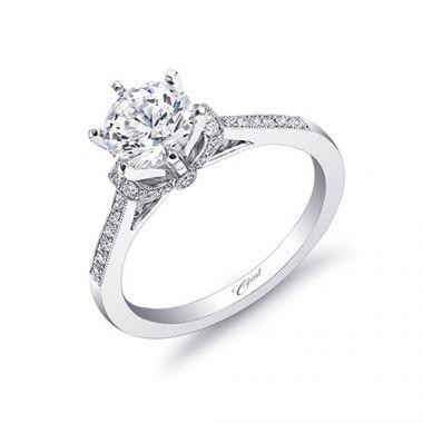 14k White Gold Coast Diamond 0.34ct Diamond Semi-Mount Fine Pave Milgrain Engagement Ring