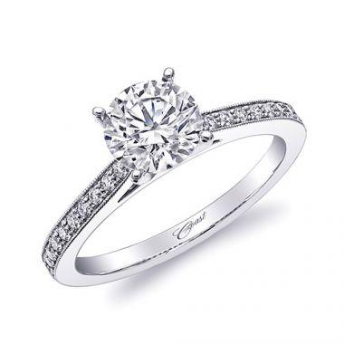 14k White Gold Coast Diamond 0.15ct Diamond Semi-Mount Fine Pave Milgrain Engagement Ring
