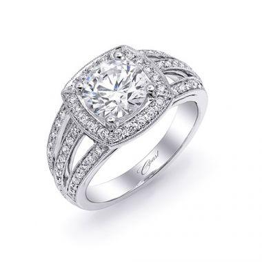14k White Gold Coast Diamond 0.46ct Diamond Semi-Mount Fine Pave Milgrain Engagement Ring