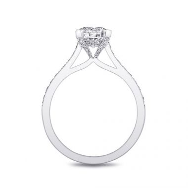 14k White Gold Coast Diamond 0.31ct Diamond Semi-Mount Fine Pave Milgrain Engagement Ring