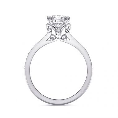 14k White Gold Coast Diamond 0.19ct Diamond Semi-Mount Fine Pave Milgrain Engagement Ring