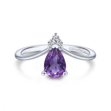Gabriel & Co. 14k White Gold Contemporary Gemstone & Diamond Ring