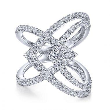 Gabriel & Co. 14k White Gold Kaslique Diamond Ring