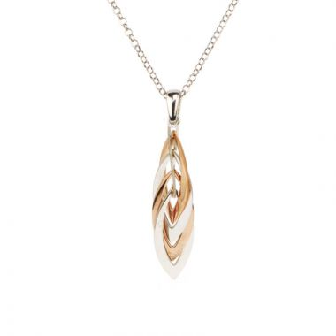 Frederic Duclos  Sterling Silver And Rose Gold Plated Marquis Necklace