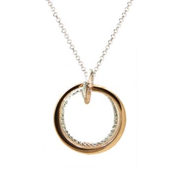 Frederic Duclos  Sterling Silver And Rose Gold Plated Large Love Knot Necklace