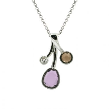 Frederic Duclos  Sterling Silver Amethyst Labradorite and White Topaz Charlotte Neck