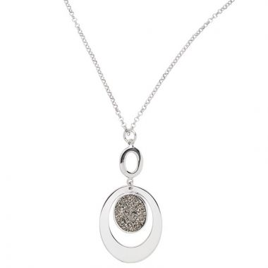 Frederic Duclos  Sterling Silver Lightning Drusy Oval Necklace