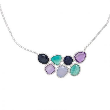 Frederic Duclos  Sterling Silver Amazonite, Chalcedony, Blue Aventurine, Amethyst Necklace