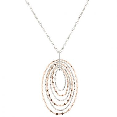 Frederic Duclos  Sterling Silver Rose Gold Plated Mirrors Oval Necklace