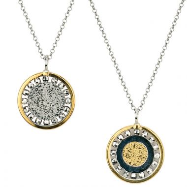 Frederic Duclos  Sterling Silver Yellow Gold Plated Reversible Glow Necklace