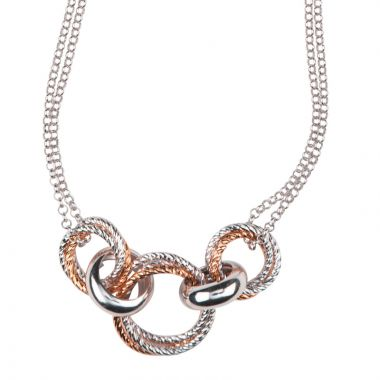 Frederic Duclos  Sterling Silver And Rose Gold Plated Liberty Necklace