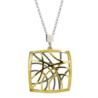 """Frederic Duclos  Sterling Silver And Yellow Gold Plated """"Contempo"""" Necklace"""