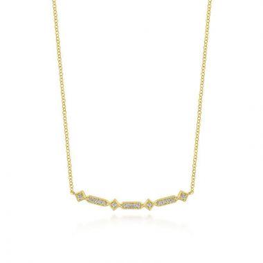 Gabriel & Co. 14k Yellow Gold Art Moderne Diamond Bar Necklace