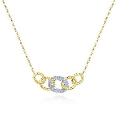 Gabriel & Co. 14k Two Tone Gold Hampton Diamond Necklace