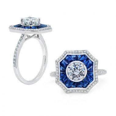 Peter Storm 14k White Gold Halo Diamond and Gemstone Engagement Ring