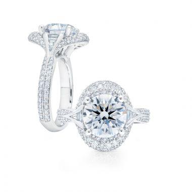 Peter Storm 14k White Gold Halo Diamond Engagement Ring